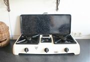 Atag T-250 3 Burner Gas Stove Camping Cooker Rechaud Enamel Vintage 50and039s