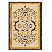 36 X 60 Inch Marble Patio Dinning Table Inlay Lawn Table Top With Marquetry Art