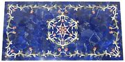 30 X 60 Inches Marble Garden Table Inlay Patio Table Top With Lapis Lazuli Stone