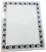 36x48 Inch Marble Center Table Inlay Sofa Table Top Lapis Lazuli Stone At Border