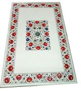 30 X 60 Inches Marble Dinning Table Top Inlay Patio Table With Carnelian Stones