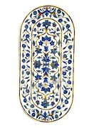 24 X 60 Inches Marble Table Top Dinning Table Inlay With Lapis Lazuli Stones