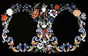 Handmade Coffee Table Top Marble Sofa Table Floral Design Inlaid 36 X 60 Inches