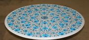 Turquoise Stone Inlaid Conference Table Top Marble Hotel Table Size 42 Inches