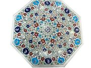Semi Precious Stone Inlaid Restaurant Table Top White Dinning Table 36 Inches