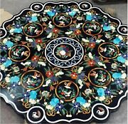 48 Inches Marble Restaurant Table Top Inlay Hall Table With Multi Gemstone Work