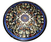 42 Inches Black Conference Table Top Marble Office Meeting Table Pietra Dura Art