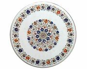 30 Inches White Marble Island Table Top Stone Kitchen Table With Pietra Dura Art