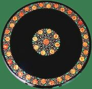 48 Inches Marble Garden Table Top Round Hallway Table With Semi Precious Stones
