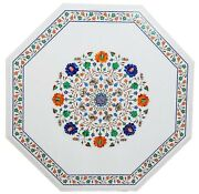 42 Inches White Marble Kitchen Table Top Handmade Coffee Table With Inlay Art