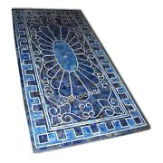 Marble Conference Table Top Utility Table With Lapis Lazuli Stones 30 X 60 Inch