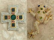 Real Collectibles By Adrienne, Crystal Pave Cross Pin/brooch, Nwot