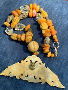Antique Tibetan Amber Glass Brass Beaded Necklace W/ Handcarved Dragon Pendant