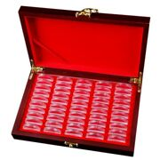 20x50 Pcs Wood Coin Protection Display Box Storage Case Holder Round Box