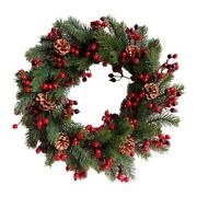 20xdecorated Artificial Christmas Wreath Green Branches With Pine Cones Red