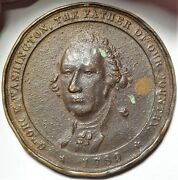 C.1890 George Washington Private Indian Peace Medal 62 Mm Copper 2