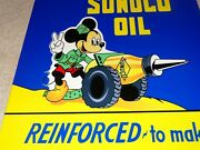 Vintage Sunoco Mickey Mouse Peace War Outfit Oil Cannon 12 Metal Gasoline Sign