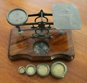 Vintage Brass And Wood Letter Postal Scale W/ Original Weight Set Of 4
