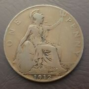 1912 Great Britain Penny Bronze Large Cent Coin Uk Britannia Trident And Shield