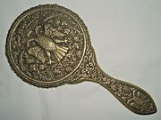 Antique Rare Solid Brass Beauty Hand Mirror Frame W/ Double Headed Eagle Greece