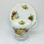 Royal Minster Tea Cup And Saucer Set England Yellow Red Cabbage Roses