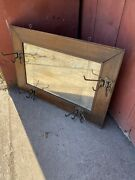 Antique 1920s Mission Hall Tree Stand Coat Hat Rack Beveled Mirror Clothing