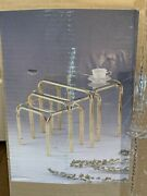 Vintage 80s Retro Brass Bamboo Nesting Tables Set 3 Smaller 14.75andrdquo-10.75andrdquo Tall