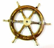 24 Antique Nautical Wooden Ship Steering Wheel Decor Brass Handle Wall Boat