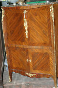 Antique French Lxv Style Bronze Decorations, Marble Top 19th C. Cabinet