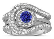 Unique And Luxurious 2ct Designer Sapphire And Diamond Wedding Ring Set White Gold