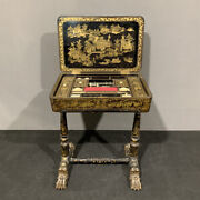 Antique And Important Small Table For Work In Lacquer With Cineserie Xix Century