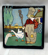 Flint Faience Tile Wonderful Dutch Boy W Geese Quite Rare And Well Detailed
