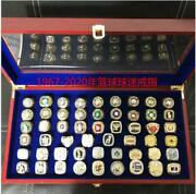 53pcs 1967 To 2020 Lakers Basketball Team Ring With Wooden Box Set Fan Men Gift