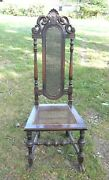Antique Victorian Jacobean Style Spanish Foot Side Chair