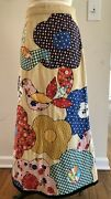 Vintage 70s Patchwork Bird Flower Maxi Skirt S/m Couture Hand Quilted
