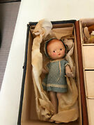Vintage Doll In Classic Steamer Trunk And Original Clothes