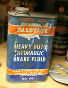 Vintage Advertising Tin Allstate Hydraulic Brake Fluid Can Gas Service Station