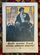 Vintage Wwi Poster Don't Waste Food While Others Starve, Circa 1917, On Linen