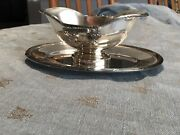 Vintage Fracalanza Silver Plate Compote Sauce Gravy Server W/attached Underplate