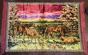 """Vintage Large Tapestry Wall Hanging Rug Horses Scene Carpet 70"""" X 48""""colorful"""