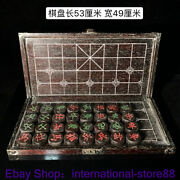 21.2 Rare Old Chinese Redwood Carving Dynasty Palace Chess Xdqi Piece Box Set