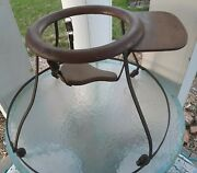 Antique Baby Walker Bouncy Rolling Wood Metal And Leather Great Craftsmanship