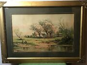 Carl P. Weber Impressionist River/fishing Watercolor Painting Signed 1850-1921