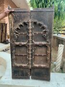 18th C Vintage Collectible Copper Flower Fitted Rare Wooden Castle Window Door