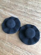 Vintage Pair Of Large Black Suede Buttons Stunning 1930s / 1940s Styled Hats 6cm