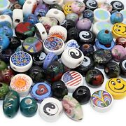100 Assorted Porcelain Beads For Jewelry Making Adults Hand Painted Ceramic Bea