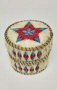 Delia Beboning Signed Porcupine Quill And Birch Bark Basket Box 2 5/8 X 3 1/8