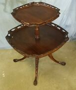 Antique 2 Tier Pierced Pie Crust Table Carved Claw Feet Parlor Table
