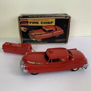 Vintage 50's Andy Gard Fire Chief Car Remote Control Toy Car For Parts Or Repair