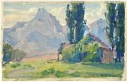 Benjamin Chambers Brown Early Ca Plein Air Small Mountain Landscape Signed Oil